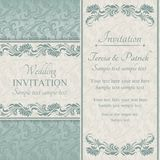 Baroque wedding invitation, blue and beige Stock Photography