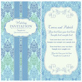 Baroque wedding invitation, blue and green Stock Images