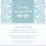 Baroque wedding invitation, blue and white Stock Image
