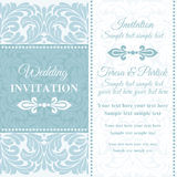 Baroque wedding invitation, blue and white Royalty Free Stock Photos