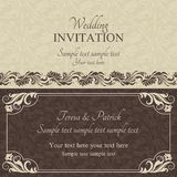 Baroque wedding invitation, brown Stock Images