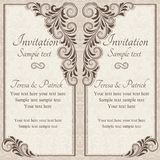 Baroque wedding invitation, brown Royalty Free Stock Image