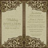 Baroque wedding invitation, brown Stock Photos