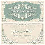 Baroque wedding invitation, brown Royalty Free Stock Photos