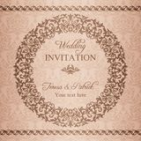 Baroque wedding invitation, brown Stock Photo