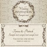 Baroque wedding invitation, brown and beige Stock Photo