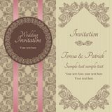 Baroque wedding invitation, brown and beige Stock Image