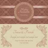 Baroque wedding invitation, brown and beige Royalty Free Stock Photo