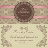 Baroque wedding invitation, brown and beige Stock Photos