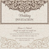 Baroque wedding invitation, brown and beige Royalty Free Stock Images