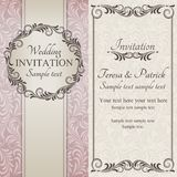 Baroque wedding invitation, brown, pink and beige Stock Photography