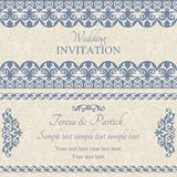 Baroque wedding invitation, dark blue Stock Images