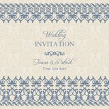 Baroque wedding invitation, dark blue Stock Image