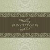 Baroque wedding invitation, dull gold Stock Photos