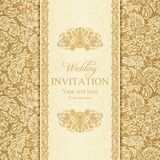 Baroque wedding invitation, gold Royalty Free Stock Photography
