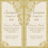 Baroque wedding invitation, gold Stock Photo