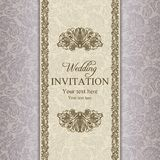 Baroque wedding invitation, gold Royalty Free Stock Photos
