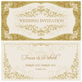Baroque wedding invitation, gold and beige vector illustration