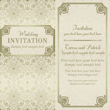 Baroque wedding invitation, gold and beige Royalty Free Stock Image