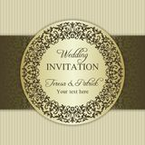 Baroque wedding invitation, gold and beige Stock Image