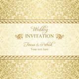 Baroque wedding invitation, gold Stock Photos