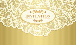 Baroque wedding invitation, gold and beige Stock Photos