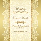 Baroque wedding invitation, gold and beige. Baroque wedding invitation card in old-fashioned style, gold and beige stock illustration