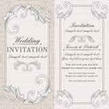 Baroque wedding invitation, grey and beige Royalty Free Stock Photo