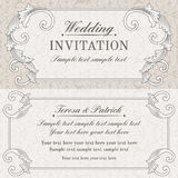 Baroque wedding invitation, grey and beige Royalty Free Stock Photography
