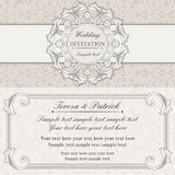 Baroque wedding invitation, grey and beige Stock Photos