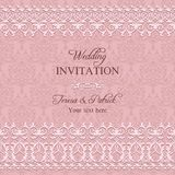 Baroque wedding invitation, pink Stock Photography