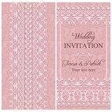 Baroque wedding invitation, pink Stock Photos