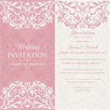 Baroque wedding invitation, pink and beige Royalty Free Stock Image