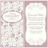 Baroque wedding invitation, pink and beige Stock Image