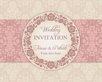 Baroque wedding invitation, pink and beige Royalty Free Stock Photo