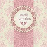 Baroque wedding invitation, pink and beige Royalty Free Stock Images