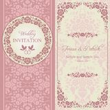 Baroque wedding invitation, pink and beige. Antique baroque wedding invitation, ornate round wreath frame, couple of birds with ring, pink and beige Royalty Free Stock Images