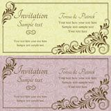 Baroque wedding invitation, pink and yellow Royalty Free Stock Photography