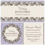 Baroque wedding invitation set, beige Royalty Free Stock Photo