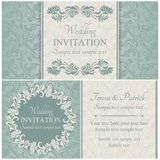 Baroque wedding invitation set, blue Royalty Free Stock Photo
