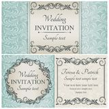 Baroque wedding invitation set, blue Royalty Free Stock Images