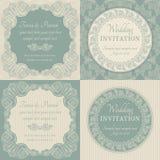 Baroque wedding invitation set, blue and beige Stock Images