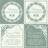 Baroque wedding invitation set, blue and beige Royalty Free Stock Photo