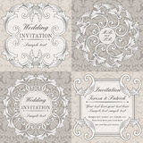 Baroque wedding invitation set, grey and beige Royalty Free Stock Image