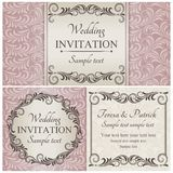 Baroque wedding invitation set, pink Royalty Free Stock Photos