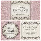 Baroque wedding invitation set, pink Royalty Free Stock Photos