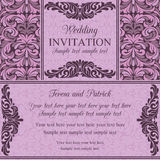 Baroque wedding invitation, violet and pink Stock Images