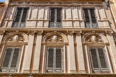 Baroque Windows in Marsala Stock Photography