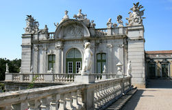 Baroque wing and statuary, Queluz National Palace. The Queluz National Palace is a Portuguese 18th-century palace located at Queluz, a freguesia of the modern Royalty Free Stock Images