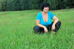 Baroque woman. Posing in the meadow Stock Image